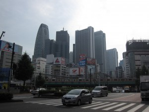 a picture of skyscraper buildings at Shinjuku station