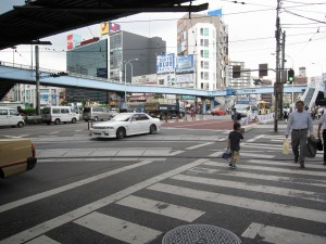 view of a major crossing nearby Oji station