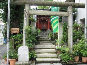 a small shrine by the apartment building