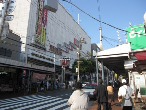 a main shopping street by Omori station
