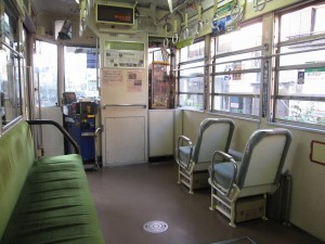 inside of the only streetcar line survived in Tokyo