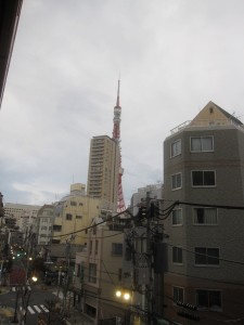 a view of Tokyo Tower form the aparment's balcony