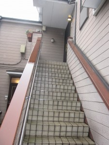 staircase to 2nd floor (a 3-bedroom apartment)