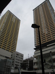 High-rise condominiums at JR Nippori station